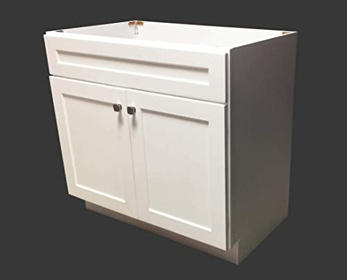 36 Wide x 21 Deep New White Shaker Single-Sink Bathroom Vanity Base Cabinet WS-V3621