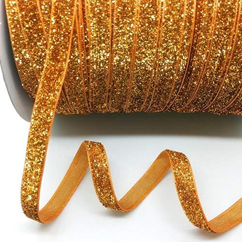 "5 yds 3/8""(10mm) Glitter Velvet Ribbon Wedding Party Decoration Handmade Ribbon Gift Wrapping Hair Bowknot DIY Christmas Ribbon (Orange)"