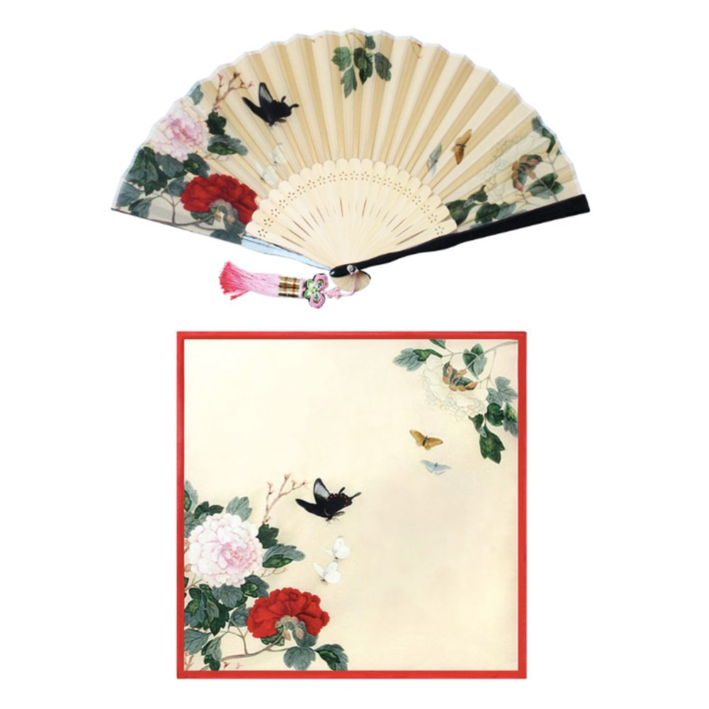 Korean Traditional Silk Hand Fan w/ Norigae+ Handkerchief Set Gift Box Special Gift (Red) by Unknown