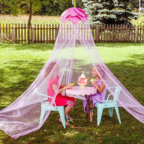 Canopy For Girls Bed Tent | Fairy Princess Pink Flower Mosquito Net | Indoor Outdoor Reading Nook Children Play House | Cute Bedroom Accessory Hanging Over Headboard Decor | Kids Twin or Baby Crib (Garden Gable Outdoor)