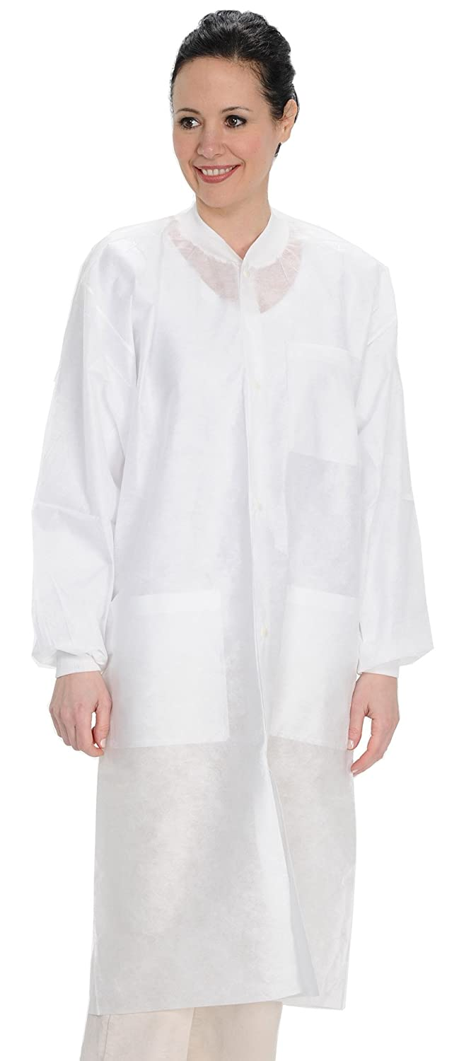 ValuMax 3560WHS Easy Breathe Cool and Strong, No-Wrinkle, Professional Disposable SMS Knee Length Lab Coat, White, S, Pack of 10: Industrial & Scientific