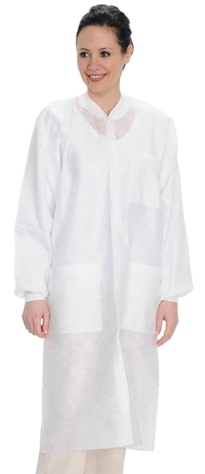 ValuMax 3560WHS Easy Breathe Cool and Strong, No-Wrinkle, Professional Disposable SMS Knee Length Lab Coat, White, S, Pack of 10