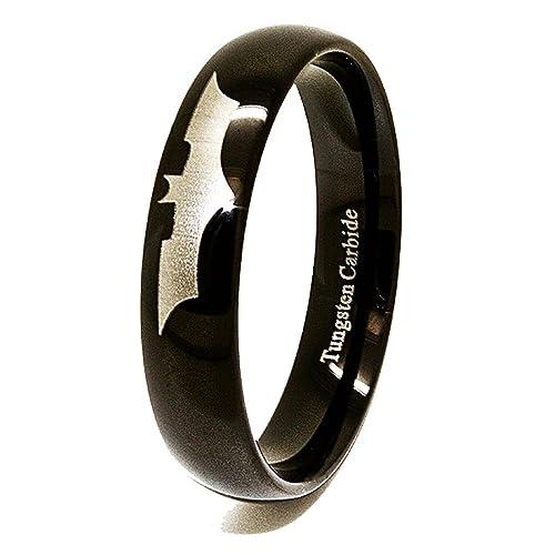 6 mm Negro grabados con láser diseño de Batman Anillo de Tungsteno Boda Banda Tamaño Z