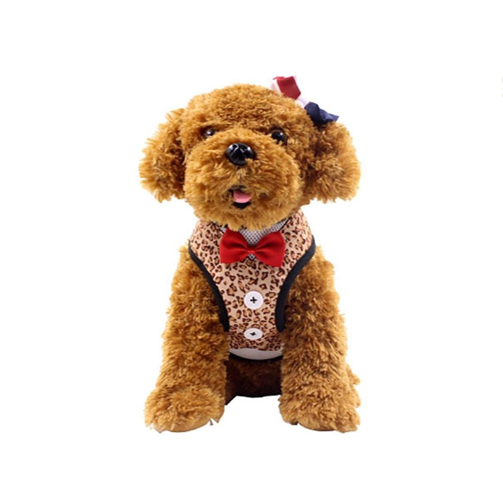 (Small, Brown) - OOEOO Puppy Velvet Tuxedo Gentleman Straps Suit Dog Bow Vest with Handle For Small Medium Dogs (Brown, S) B07CTSL28X ブラウン Small