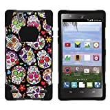 ZTE Lever LTE Phone Case, Dual Layer Shell SHOCK High Impact Kickstand Case with Unique Skull Designs for Lever LTE Z936L and Z936C by Miniturtle® - Sugar Skull Design