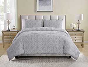 Tahari Home | Sutter Bedding Collection | Luxury Ultra Soft Comforter, All Season Premium 3 Piece Set, Modern Chic Clip Ogee Print, Designed for Home Hotel Décor, Full/Queen, Grey
