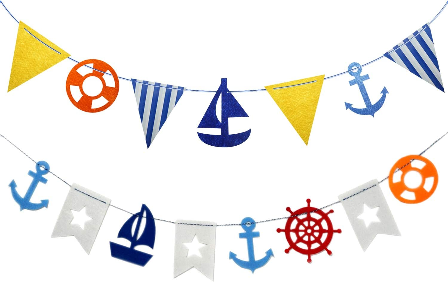 Nautical Banners Of Anchor Boat Pennant Flags For Baby Shower, Birthday, Wedding, Bridal Shower Party Decor Supplies, 2 Counts
