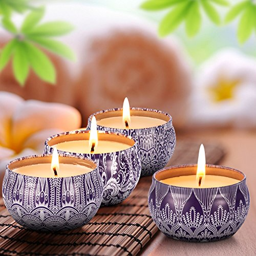 Scented Candles Blue & White Gift Set - 4 Pack Fragrance Soy Wax Candle with Aromatherapy Essential Oils - Include (Lily & Green Tea & Lilac Blossoms & Ginger Flower) - Gift for Valentines Day