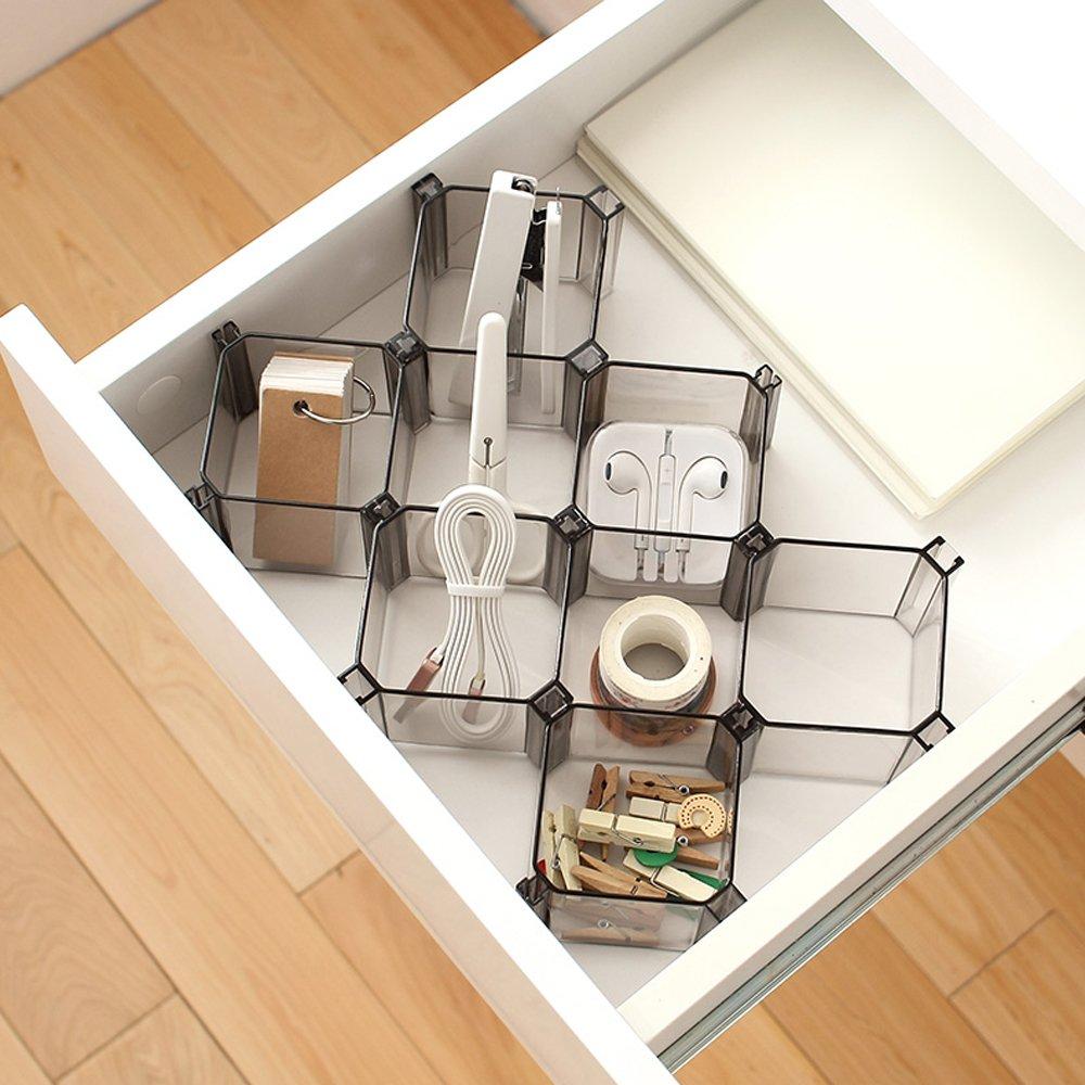Warrah Verstellbares Set mit 6/Boxen Schubladen-Trennw/ände zum Organisieren von Socken Kosmetik und Krawatten und mehr Schwarz.