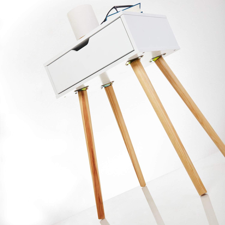 Furniture For Friends Gambe in Legno Legno Colore: Bianco Comodino Tjark con cassetto 40x30x60 cm 40 x 30 x 60 cm Anthrazit