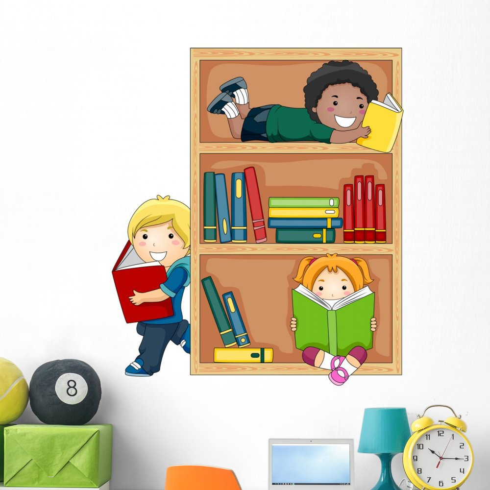 Wallmonkeys Reading Books Wall Decal Peel and Stick Educational Graphics (48 in H x 42 in W) WM107219