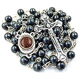 Black Hematite BLESSED ROSARY NECKLACE Round Beads with Jerusalem Soil Catholic Cross Crucifix Gift Box