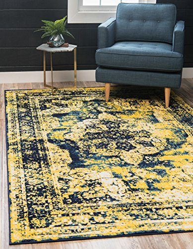 Unique Loom 3137839 Sofia Collection Traditional Vintage Beige Area Rug, 5' x 8' Rectangle, Navy Blue