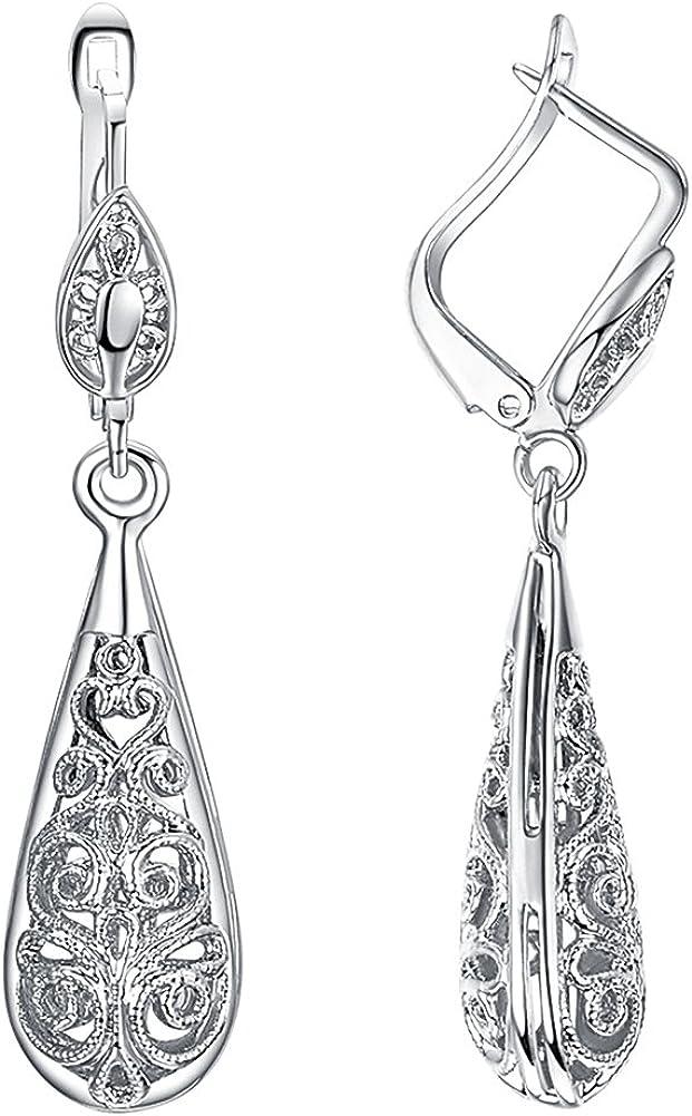 Yoursfs Pendientes de gota de filigrana para mujer, chapados en oro de 18 quilates, elegantes lágrimas, pendientes de palanca, joyería de boda