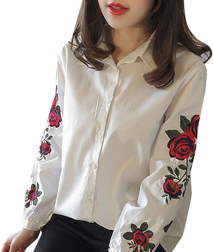 Mosunx Mujer Blusas – Farol de Floral bordado blusa de manga larga moda camisa de manga larga para mujer femininas mujeres Tops: Amazon.es: Hogar