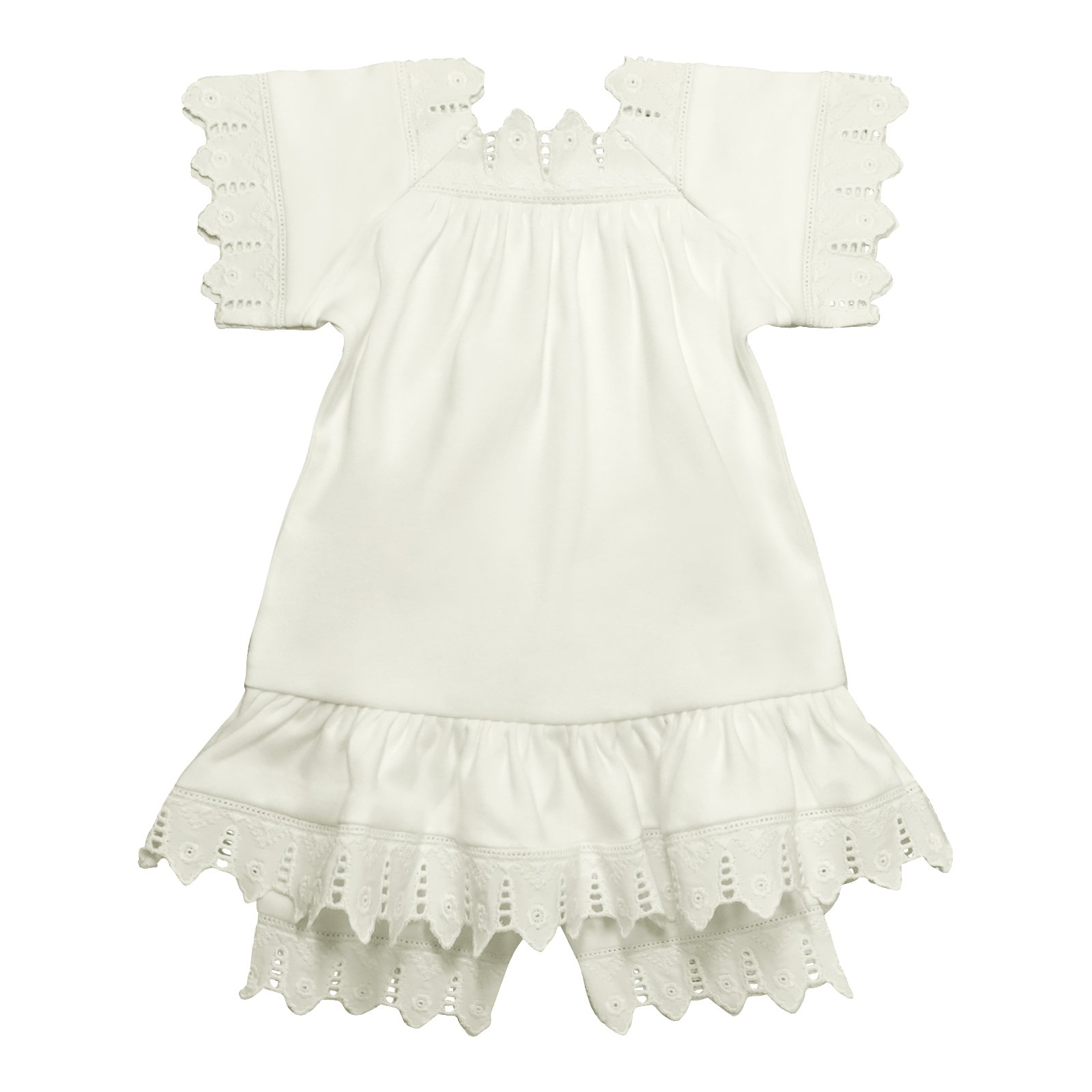 Victorian Organics Baby Girl Sailor Set 4 Piece Organic Cotton Knit and Eyelet Lace Trim Jacket Hat Dress and Bloomers (NB 0-3 months) by Victorian Organics (Image #3)