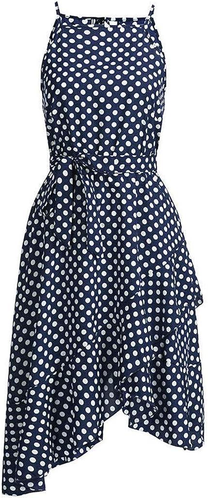ShenPourtor Womens Summer Halter Neck Polka Dot Sleeveless Lace Up Irregular Ruffle Hem Casual Midi Dress