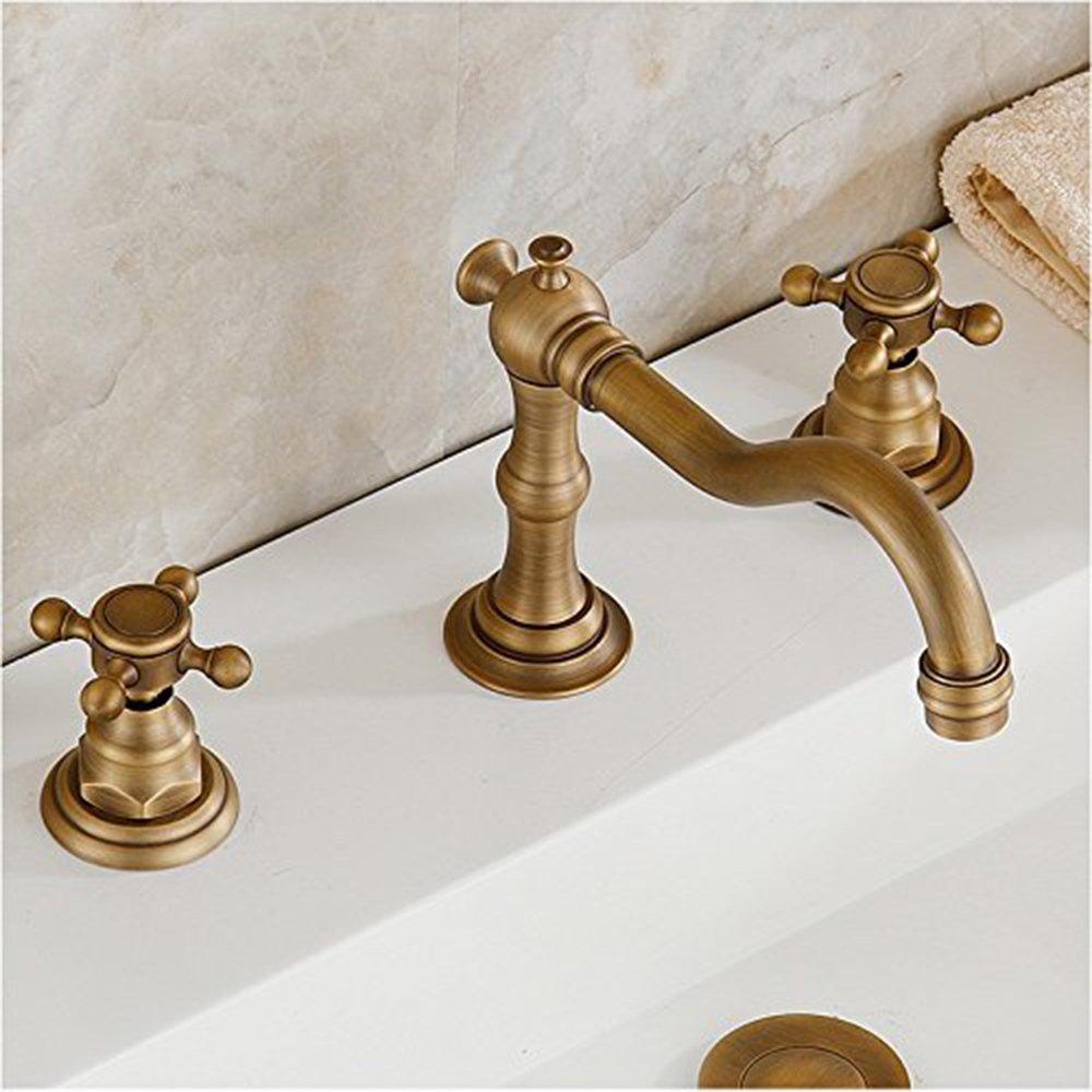 Vintage Two-Handle Widespread Bathroom Sink Faucet Antique Brass Bathtub Basin Mixer Tap Lavatory Faucets, Three Holes Deck Mount