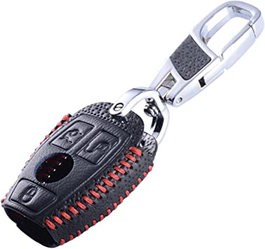 MAXIOU Leather Key Cover for Mercedes Benz W203 W204 W211 CLK C180 E200 AMG C E S Class Keychain FOB Case Chain Blue