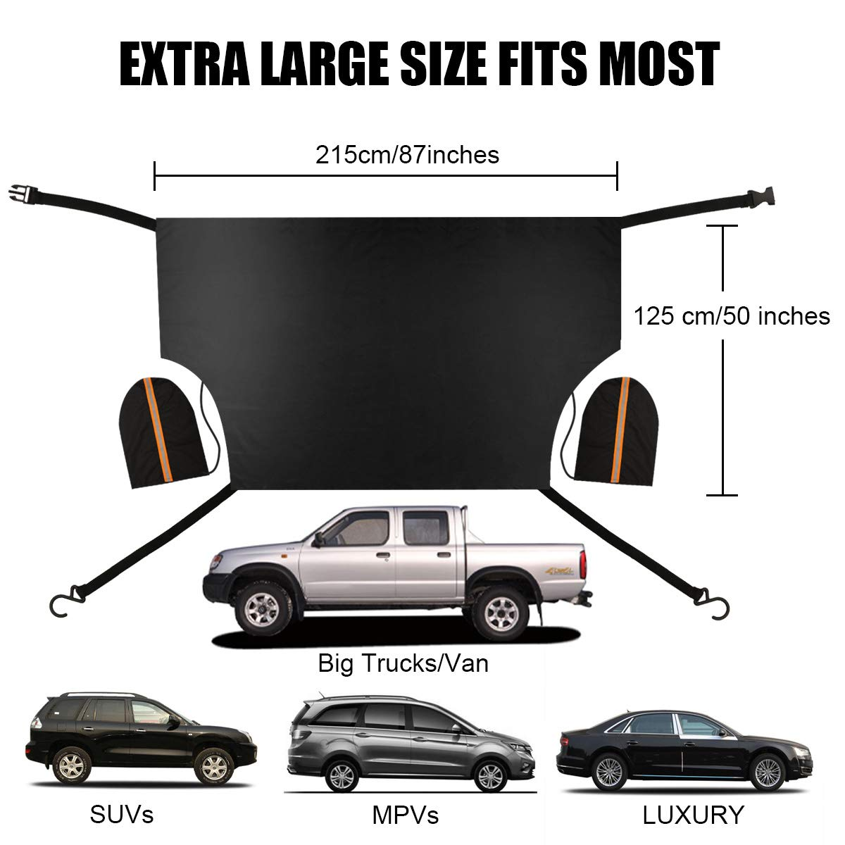 Extra Large Size 87x50 Magnetic Window Snow Ice Frost UV Sunshade Cover with Rearview Mirror Protector for Most Vehicle Cars SUV Inwee Car Windshield Snow Cover