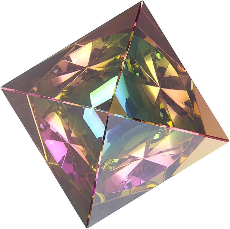 avec Couleur Color/é Outil de Photographie 80mm Sumnacon Pyramide en Verre D/écoration Presse-Papier Cadeau