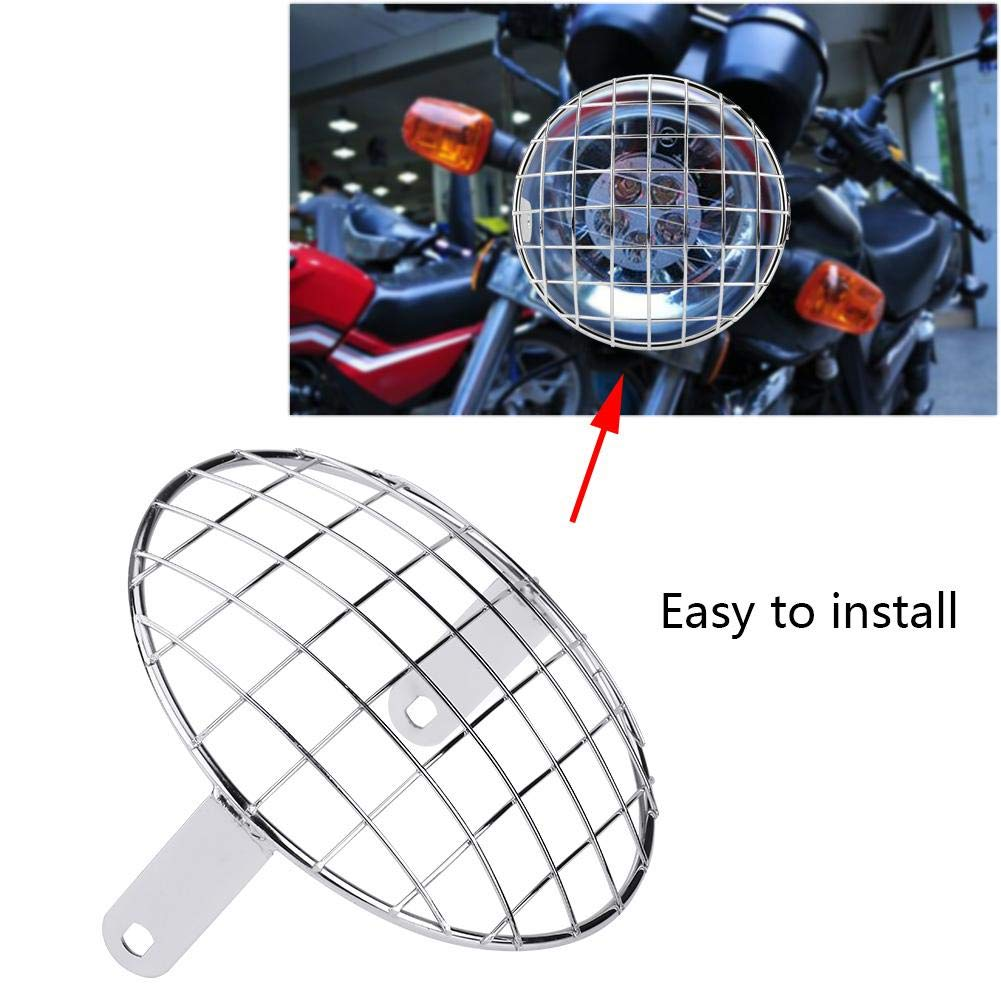 Acouto 7 Motorcycle Headlight Mesh Grill Side Mount Universal Cover Lamp Mask Protector for Cafe Racer Black
