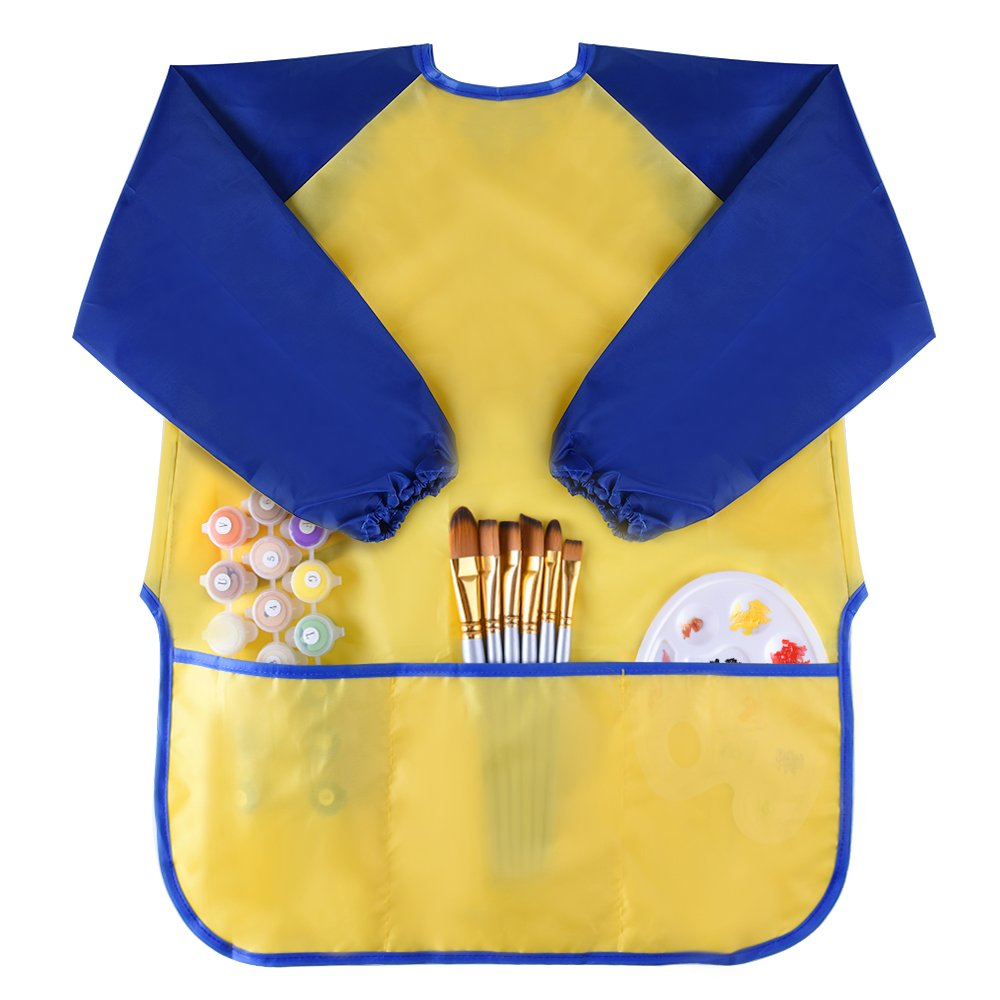 KUUQA Childrens Kids Toddler Waterproof Play Apron with 3 Roomy Pockets - Painting, Feeding Smock - Age 2-4 years (Paints and Brushes not included) KQ079