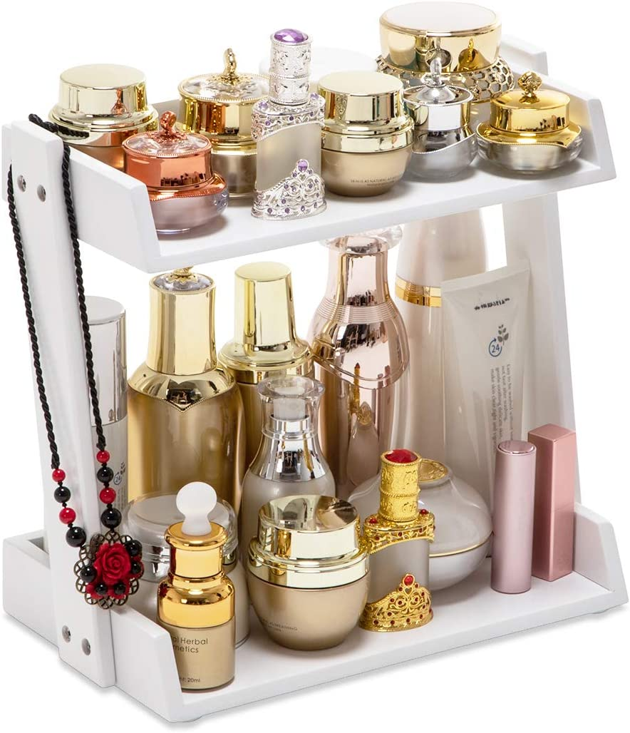 GOBAM Makeup Organizer Cosmetic Storage Display Shelf with 2 Layers, Assemble Easily, Fits Different Cosmetics, White Bamboo