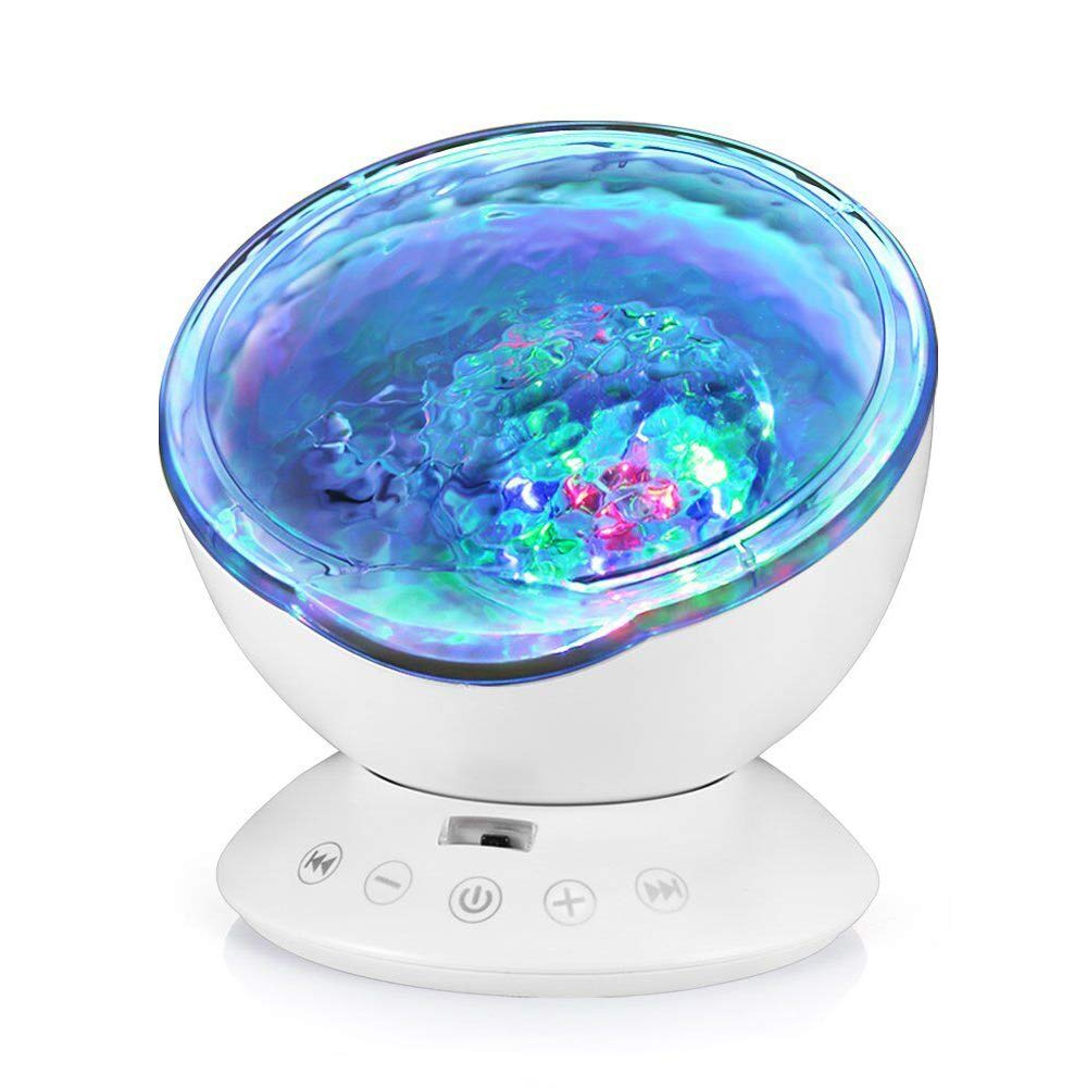 Ocean Wave Projector, Hallomall 12LED Night Light Lamp with Built-in Music Player, 7 Color Changing Lighting Modes, Perfect Choice for Baby Nursery Bedroom Living Room(White)