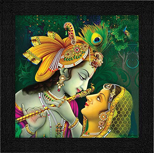 SAF Radha Krishna UV Coated Home Decorative Gift Item Framed Painting 12 inch X 12 inch