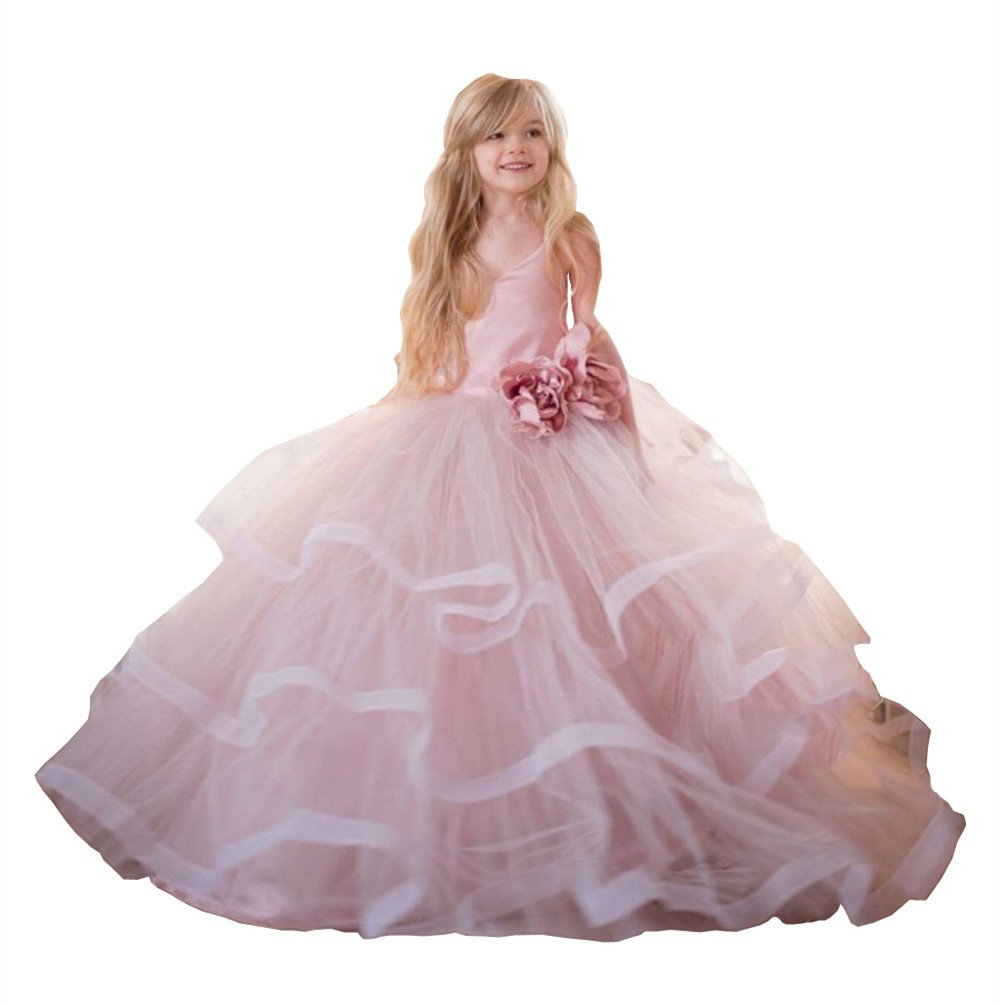 Banfvting Pale Pink Princess Graduation Gown Little Girls Spaghetti First Communication Dress Kids Adorable (14)