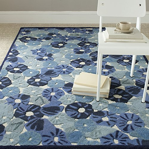Safavieh MSR3625A Martha Stewart Collection Wool and Viscose Area Rug, 8-Feet by 10-Feet, Poppy Field Azurite Blue by Safavieh