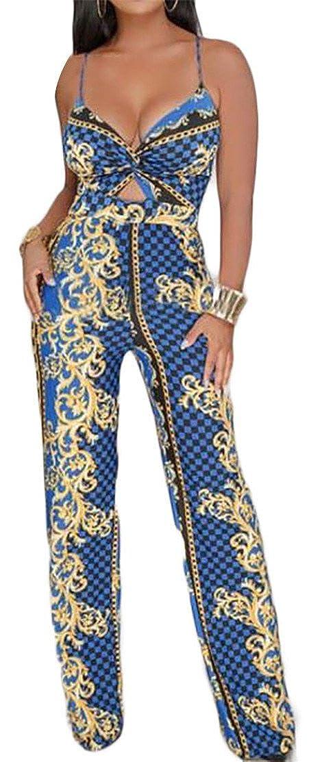 P/&E Womens Contrast Color Strap Backless Wide Leg Long Jumpsuit