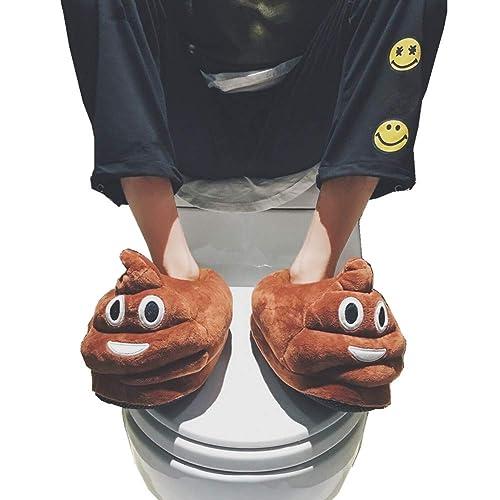 Amazoncom Poop Emoji Slippers Plush Funny Stuff Fluffy Slipper