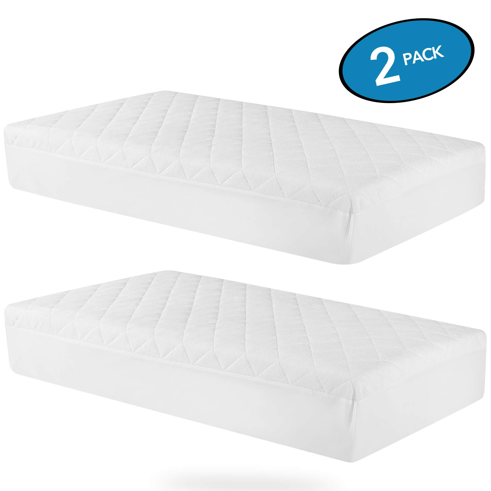MoMA Waterproof Crib Mattress Cover (Set of 2) - 52x28'' White Crib Mattress Protector - Soft Fitted Baby Crib Mattress Pad with 9-inch Pocket - Hypoallergenic Bamboo Fiber Toddler Mattress Pad by MoMA (Image #1)