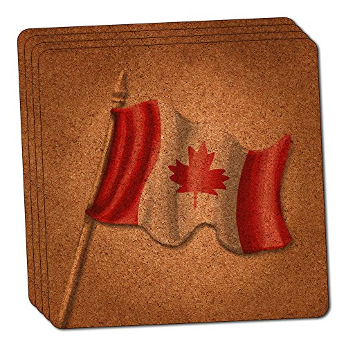 Vintage Canadian Flag - Canada Thin Cork Coaster Set of - Coaster Flag Canada