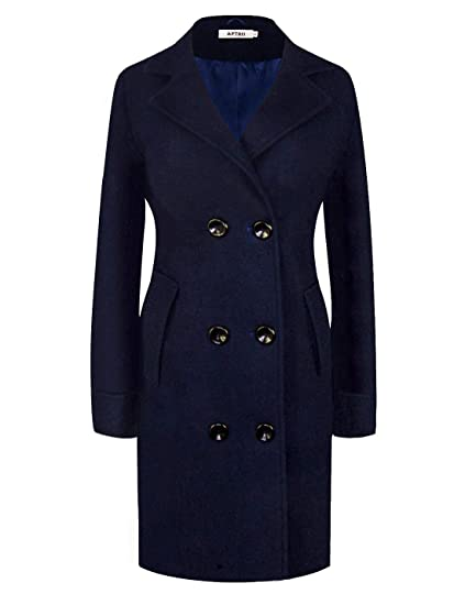 6dcc4f41a84 APTRO Womens Coats Winter Long Casual Toggle Outerwear Double Breasted Wool  Coat  Amazon.co.uk  Clothing