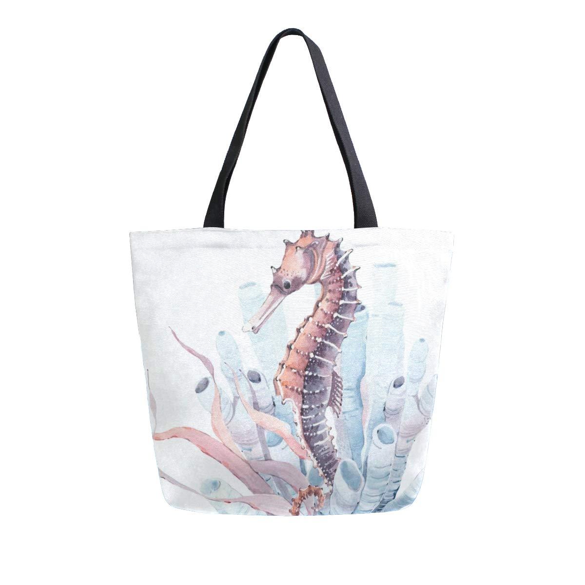 Canvas Tote Bag Seahorse...