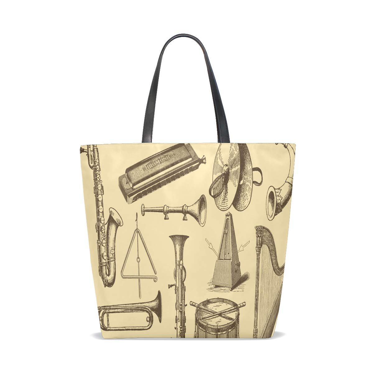 Old Style Drawing Musical Instruments Tote Bag Purse Handbag Womens Gym Yoga Bags for Girls