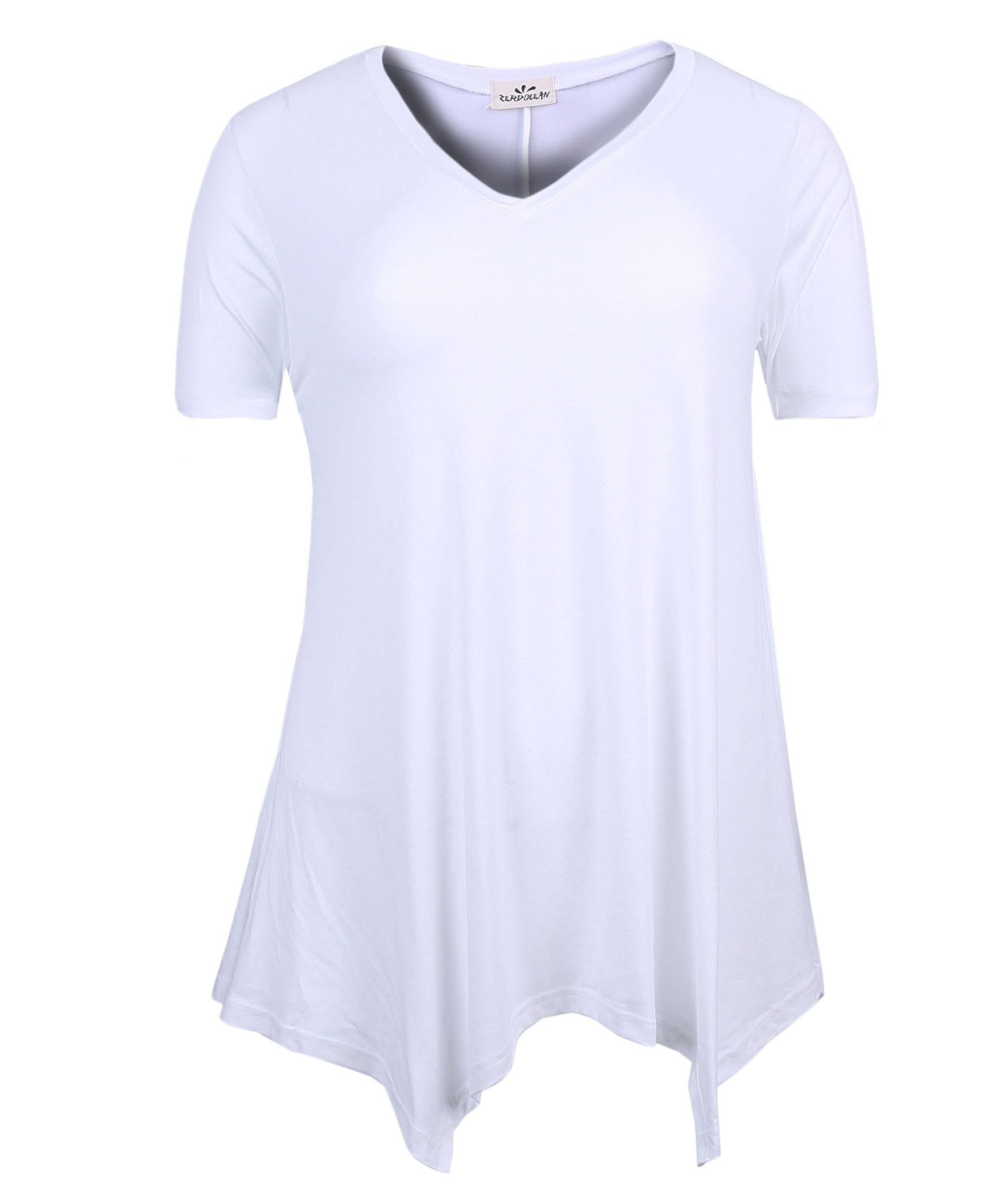 ZERDOCEAN Women's Printed V Neck Short Sleeve Tunic Top Loose Shirt Off-White 1X