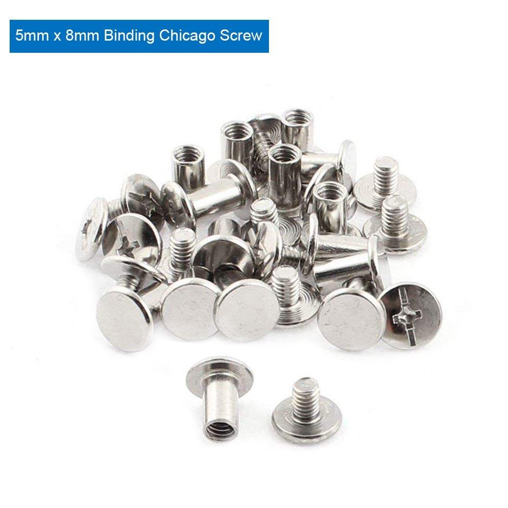 Increway Plaqu/é nickel reliure Chicago Vis poteaux Corps /Écrous daccueil rivets Argent/é Lot de 30