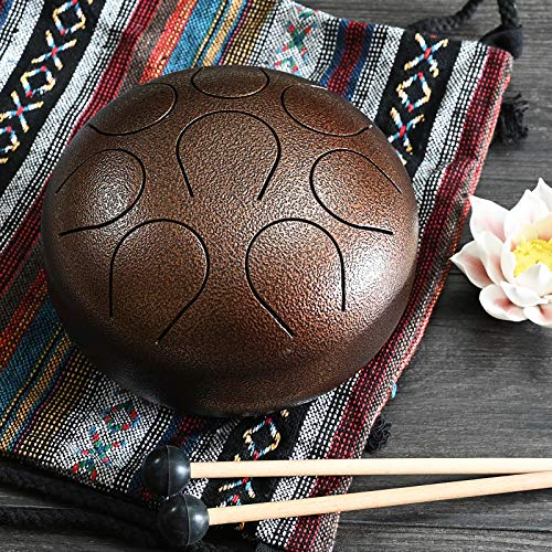 CVNC 8 Inch Multi Black Color Stainless Steel Tongue Drum Percussion Instrument Free Mallet & Bag Powerful Energy