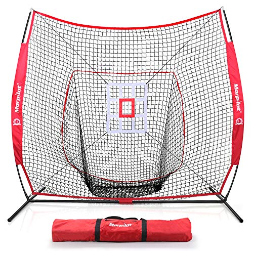 Keenstone 7'×7' Baseball Softball Practice Net Hitting & Pitching Net | Hitting, Pitching, Batting, Catching, Fielding | with Bow Frame, Carry Bag and Strike Zone Target
