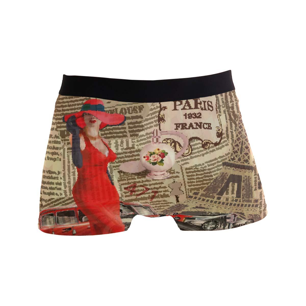 BETTKEN Mens Boxer Briefs Vintage France Paris City Car Short Underwear Soft Stretch Underpants for Men Boys S-XL