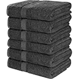Utopia Towels 100% Cotton Dark Grey Bath Towels Set (6 Pack, 22 x 44 Inch) Lightweight High Absorbency, Multipurpose, Quick Drying, Pool Gym Towels Set
