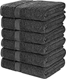 Utopia Towels Cotton Bath Towels, 6 Pack, (22 x 44 Inches), Pool Towels and Gym Towels, Dark Grey