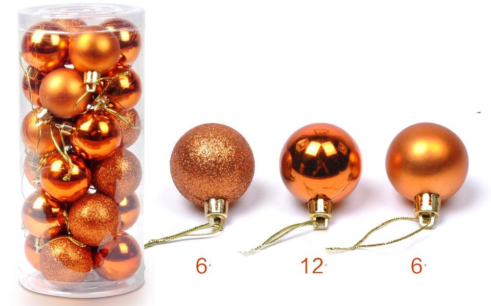 YJBear Decorative Multi-color Christmas Ball Shatterproof Christmas Tree Ornaments Set 24 Pack in One Clear Barrel, Bronze (Diameter-6cm/2.36'')