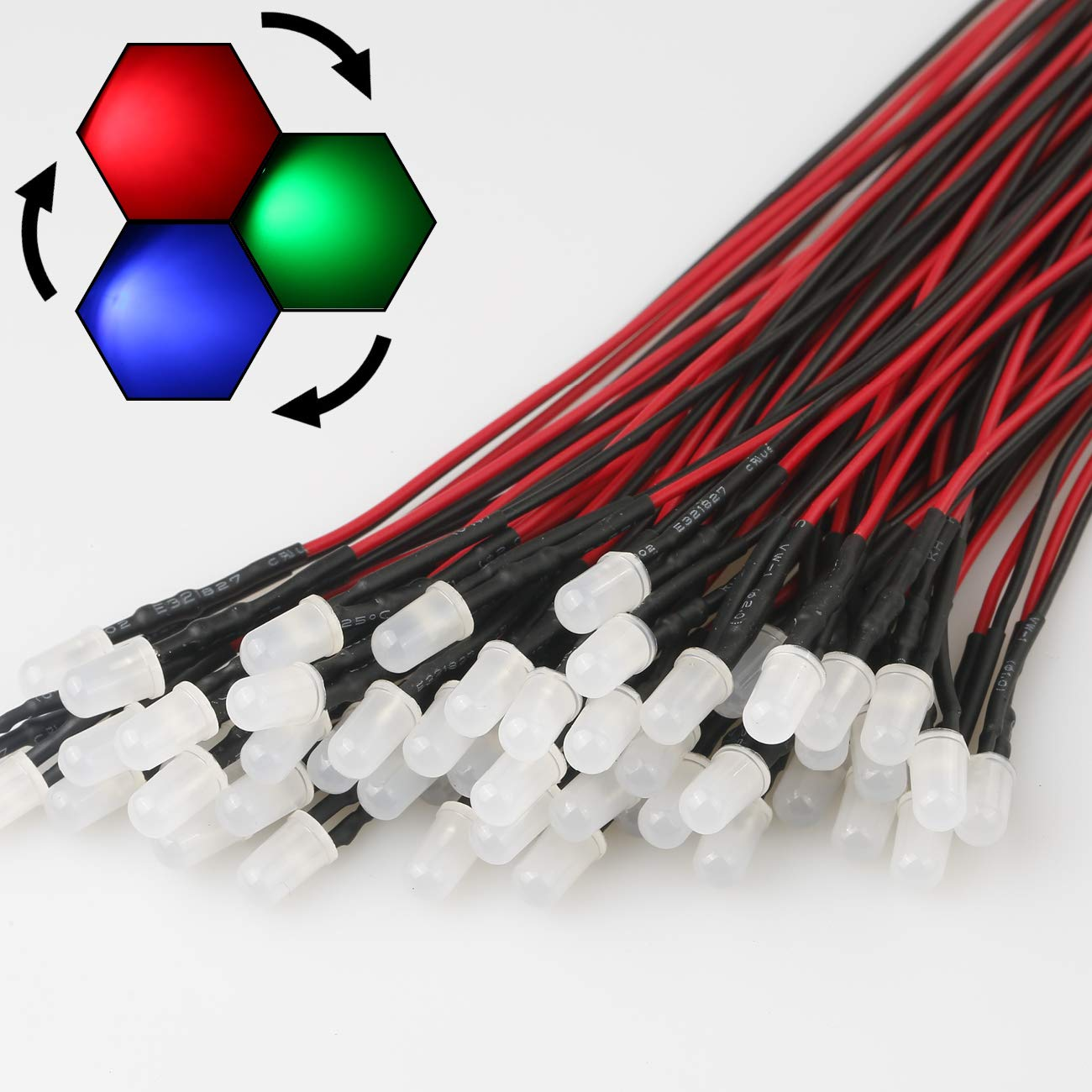 EDGELEC 50pcs 12 Volt 5mm Yellow Blinking LED Lights Emitting Diodes 1.5Hz Single Color Flashing Pre Wired 7.9 Inch DC 12v LED Light Diffused Colored Lens Small LED Lamps