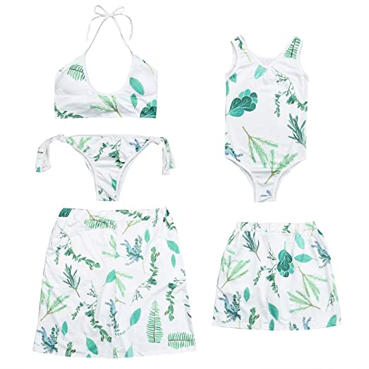 d1ada55a87 Family Swimsuits Matching Mom Dad Daughter Son Floral Bikini Monokini Swim  Trunks Parent-Child Swimwear