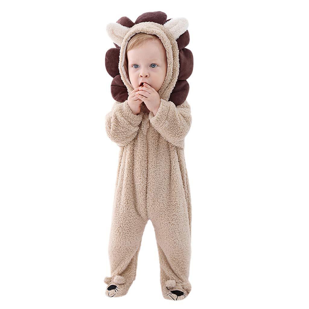 BFYOU Toddler Baby Boy Girl 3D Cartoon Hooded Warm Fleece Jumpsuit Jumpsuit Hare Jumpsuit (0Months-24 Months) (18-24 Months, Khaki) by BFYOU_ Girl Clothing